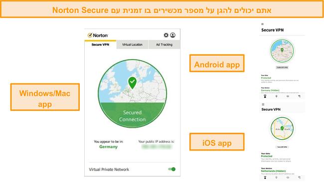 צילומי מסך של אפליקציות Windows, Mac, Android ו- iOS של Norton Secure VPN.
