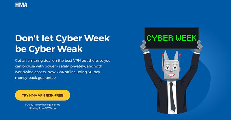 Screenshot of HMA's Black Friday/Cyber Monday Deal