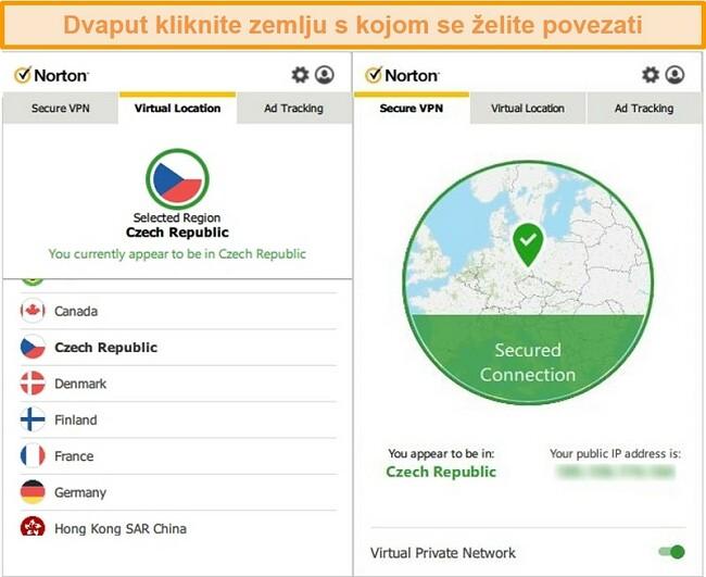 Snimka zaslona Norton Secure VPN-a povezanog s poslužiteljem u Češkoj