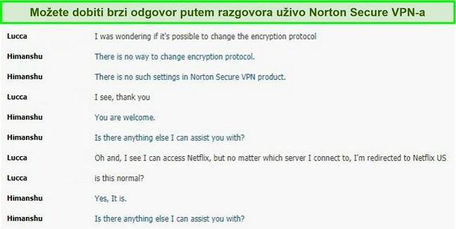 Snimka zaslona razgovora u chatu uživo s podrškom za Norton Secure VPN