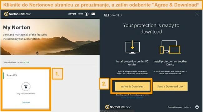 Snimke zaslona Norton Secure VPN-ova My Norton i stranice za preuzimanje