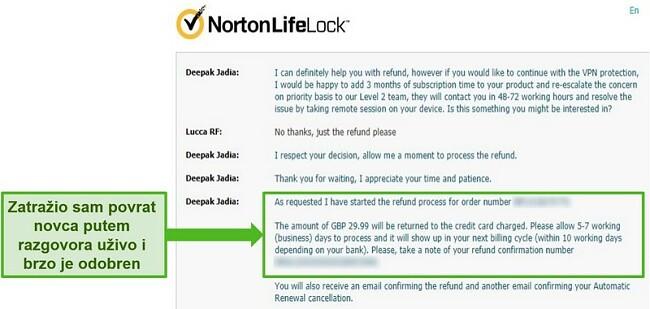 Snimka zaslona zahtjeva za povrat novca putem chata Norton Secure VPN 24/7 uživo