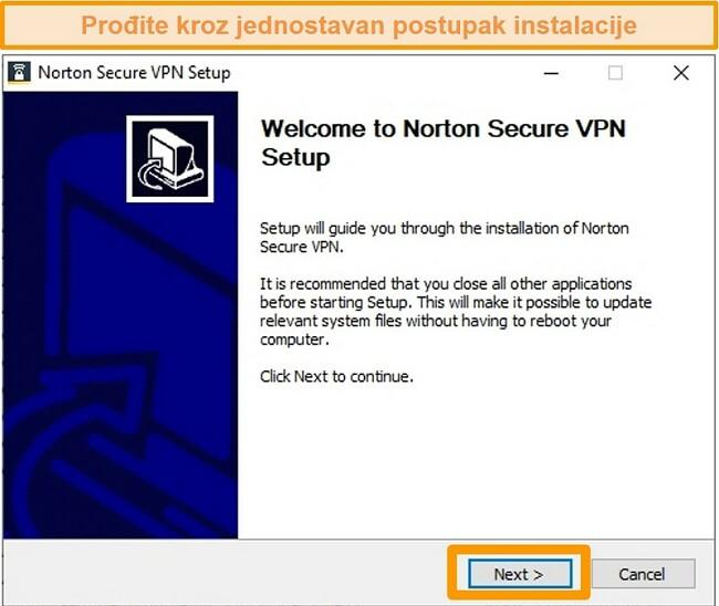 Snimka zaslona prvog koraka postupka instalacije sustava Windows tvrtke Norton Secure VPN