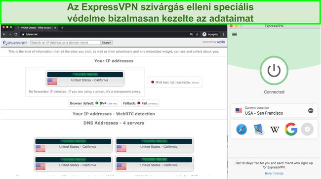 Képernyőkép, amelyen az ExpressVPN továbbította az IP-, a DNS- és a WebRTC-szivárgást