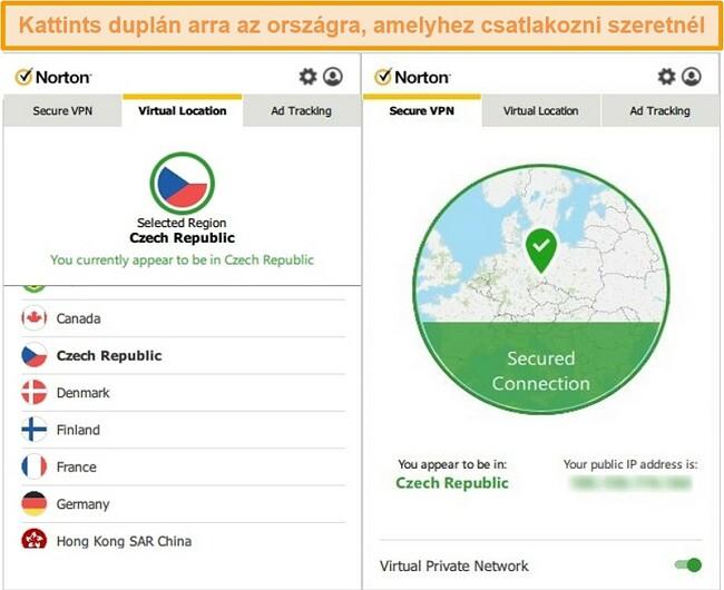 Pillanatkép a Norton Secure VPN-ről, amely egy csehországi szerverhez csatlakozik