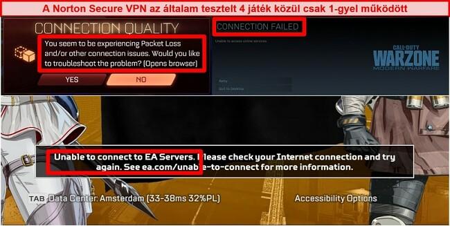 Pillanatkép a Norton Secure VPN-ről, amely kapcsolódási problémákat okoz az online játékokban