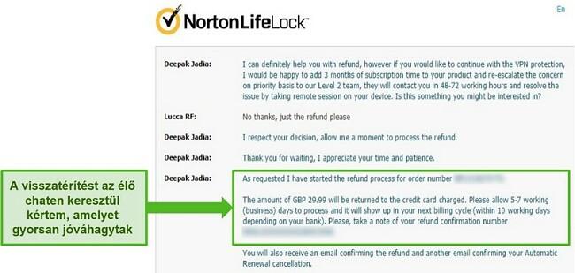 Pillanatkép a visszatérítés igényléséről a Norton Secure VPN 24/7 élő csevegésén keresztül