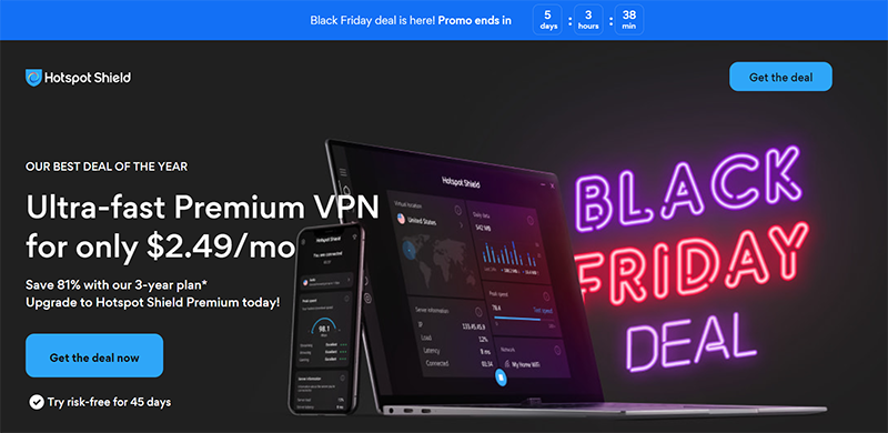 Screenshot of Hotspot Shield's Black Friday/Cyber Monday Deal