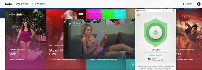 Hulu works with ExpressVPN
