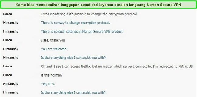 Tangkapan layar percakapan obrolan langsung dengan dukungan Norton Secure VPN