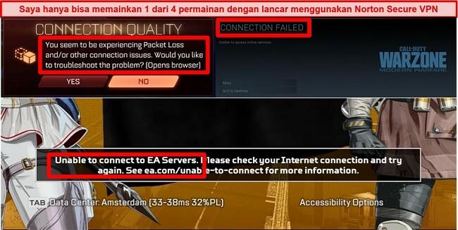 Tangkapan layar dari Norton Secure VPN menyebabkan masalah konektivitas di game online
