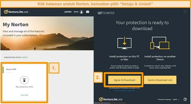 Tangkapan layar dari Norton Secure VPNs My Norton dan halaman unduhan