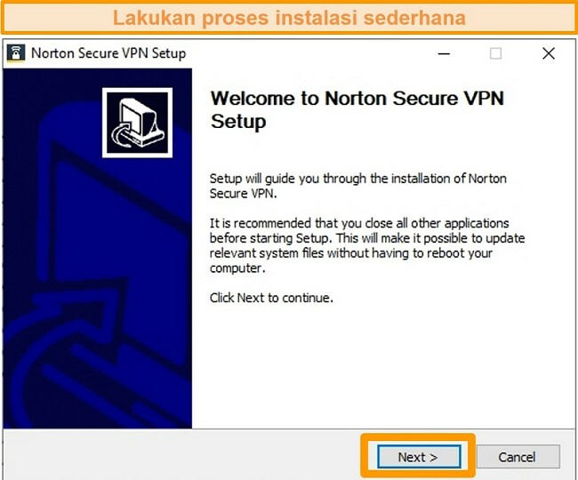 Cuplikan layar dari langkah pertama proses penginstalan Windows Norton Secure VPN