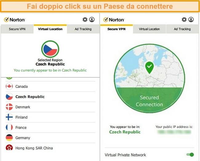 Screenshot di Norton Secure VPN connesso a un server nella Repubblica Ceca.
