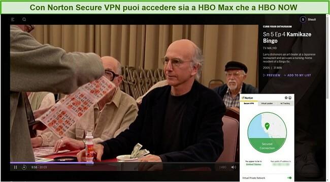 Screenshot di Norton Secure VPN che sblocca HBO Max e streaming Curb Your Enthusiasm.