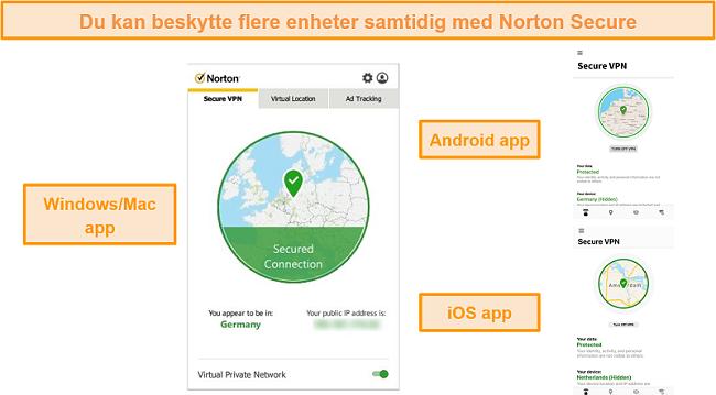 Skjermbilder av Norton Secure VPN Windows-, Mac-, Android- og iOS-apper.