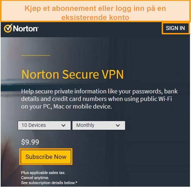 Skjermbilde av Norton Secure VPNs kjøpeside.