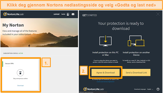 Skjermbilder av Norton Secure VPNs My Norton og nedlastingssider.