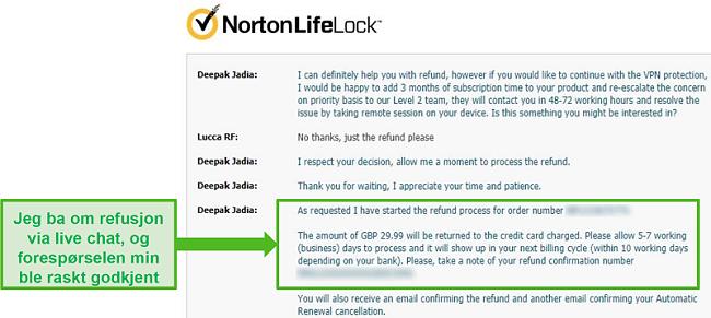 Skjermbilde av å be om tilbakebetaling gjennom Norton Secure VPNs 24/7 live chat