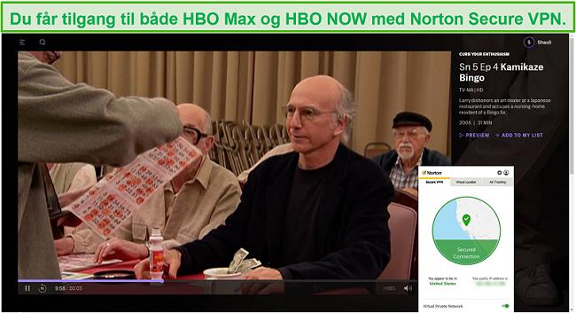 Skjermbilde av Norton Secure VPN som fjerner blokkering av HBO Max og streaming Curb Your Enthusiasm.