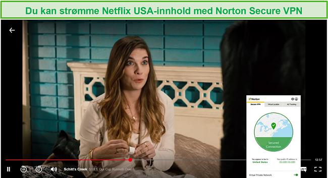 Skjermbilde av Norton Secure VPN som blokkerer Netflix USA og streamer Schitt's Creek.