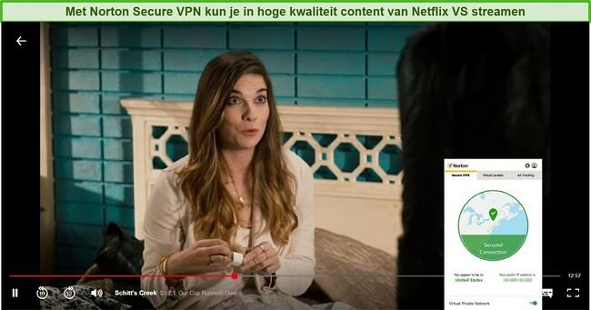 Screenshot van Norton Secure VPN waarmee Netflix US wordt gedeblokkeerd en Schitt's Creek wordt gestreamd.