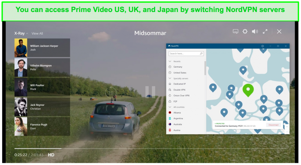 Screenshot of NordVPN connected to a German server and unblocking Midsommar on Prime Video US