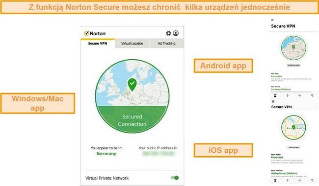 Zrzuty ekranu aplikacji Norton Secure VPN dla systemów Windows, Mac, Android i iOS.