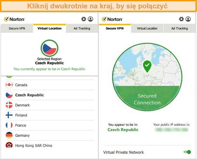 Zrzut ekranu programu Norton Secure VPN połączonego z serwerem w Czechach.