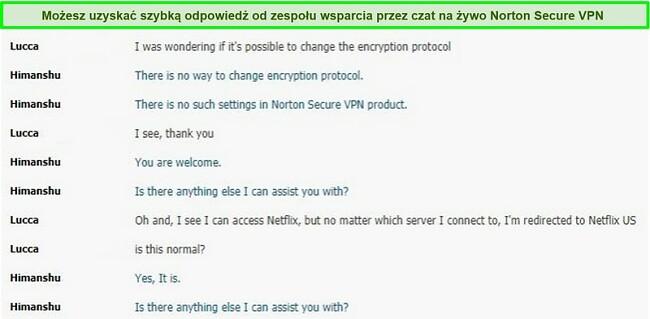 Zrzut ekranu rozmowy na czacie na żywo z obsługą Norton Secure VPN.