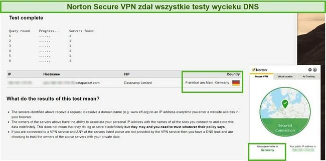Zrzut ekranu przedstawiający Norton Secure VPN przechodzący test szczelności DNS.