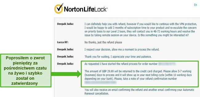Zrzut ekranu przedstawiający żądanie zwrotu pieniędzy za pośrednictwem całodobowego czatu na żywo w Norton Secure VPN