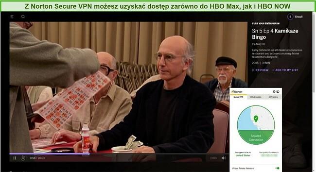 Zrzut ekranu programu Norton Secure VPN odblokowującego HBO Max i ograniczającego entuzjazm za pośrednictwem przesyłania strumieniowego.