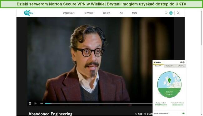 Zrzut ekranu z Norton Secure VPN odblokowującym UKTV i przesyłającym strumieniowo Abandoned Engineering.