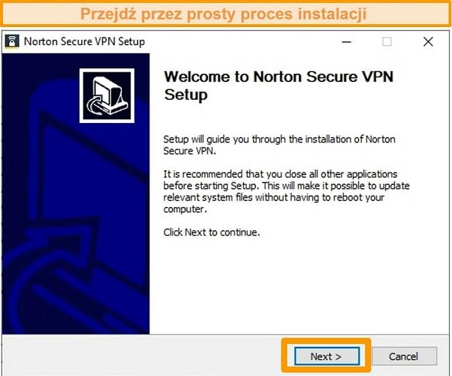 Zrzut ekranu przedstawiający pierwszy krok procesu instalacji programu Norton Secure VPN w systemie Windows.