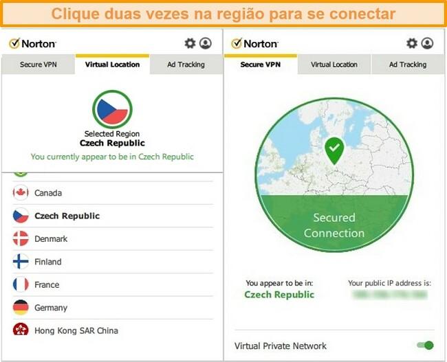 Captura de tela do Norton Secure VPN conectado a um servidor na República Tcheca.