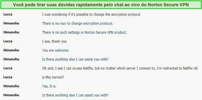 Captura de tela de uma conversa de chat ao vivo com o suporte do Norton Secure VPN.