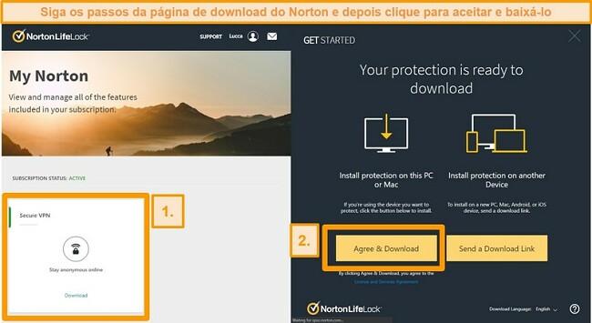 Capturas de tela de Norton Secure VPNs My Norton e páginas de download.