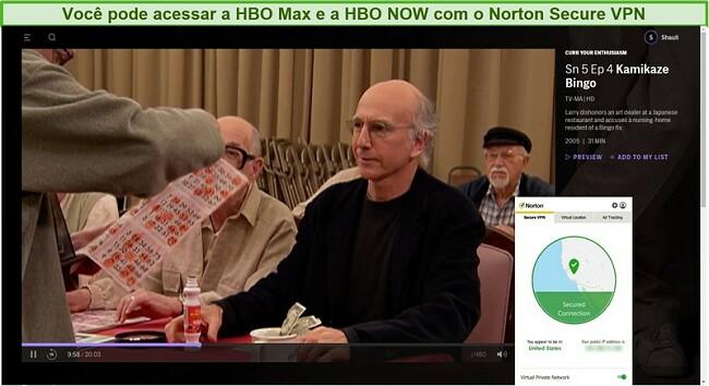 Captura de tela do Norton Secure VPN desbloqueando HBO Max e streaming Limite seu entusiasmo.