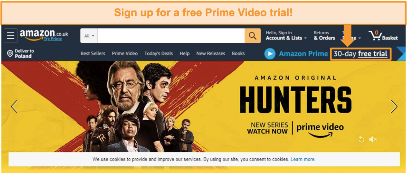 Screenshot of Amazon UK homepage with an option to sign up for a 30-day free trial for Amazon Prime