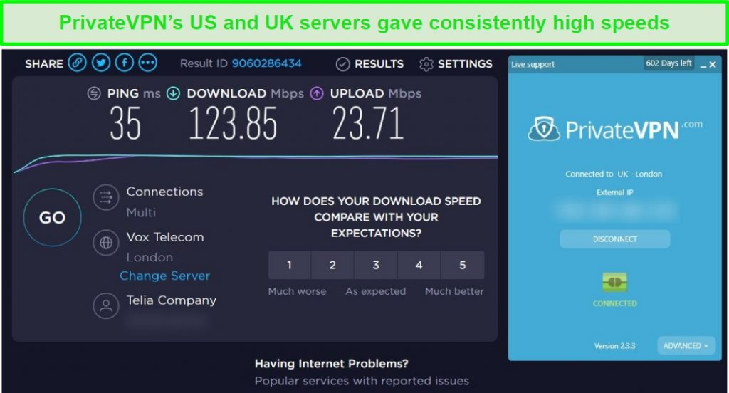 Screenshot of PrivateVPN speed test results with fast speeds when connected to a London server