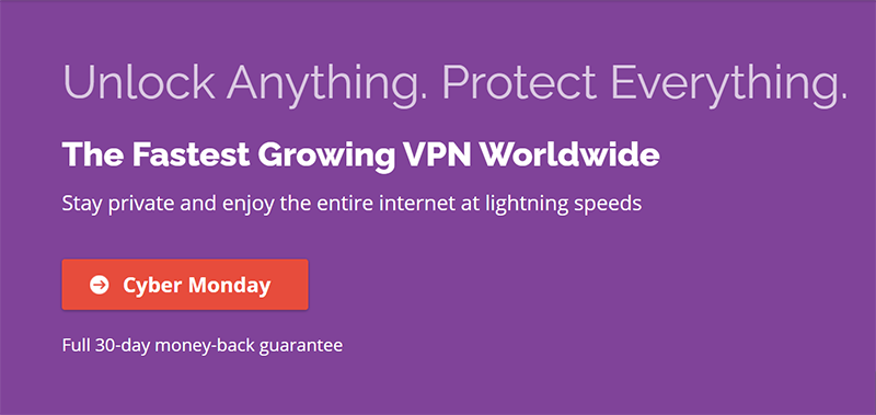 Screenshot of PrivateVPN's Cyber Monday Deal