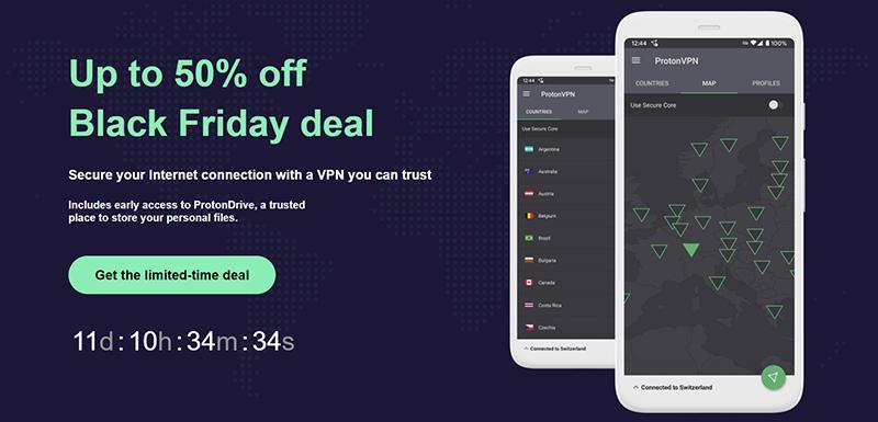 Screenshot of ProtonVPN's Black Friday Deal
