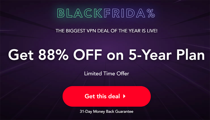 Screenshot of PureVPN's Black Friday/Cyber Monday Deal