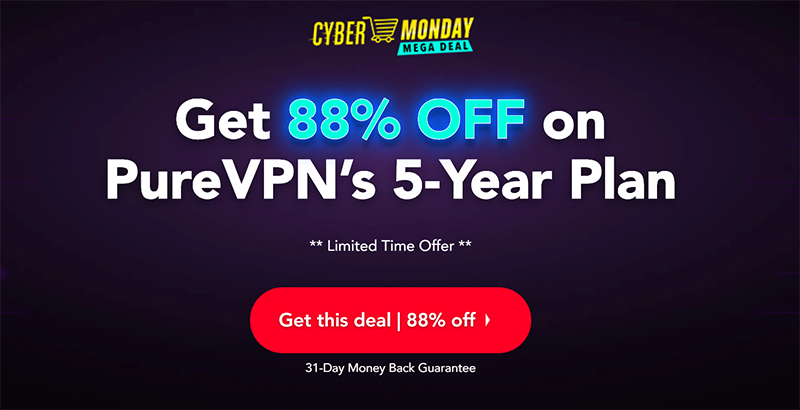 Screenshot of PureVPN's Black Friday/Cyber Monday Deal