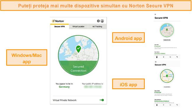 Capturi de ecran ale aplicațiilor Norton Secure VPN pentru Windows, Mac, Android și iOS.