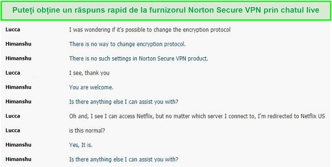 Captură de ecran a unei conversații live chat cu asistența Norton Secure VPN.