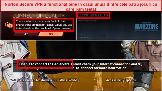 Captură de ecran a Norton Secure VPN cauzând probleme de conectivitate în jocurile online.