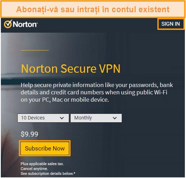 Captură de ecran a paginii de cumpărare a Norton Secure VPN.
