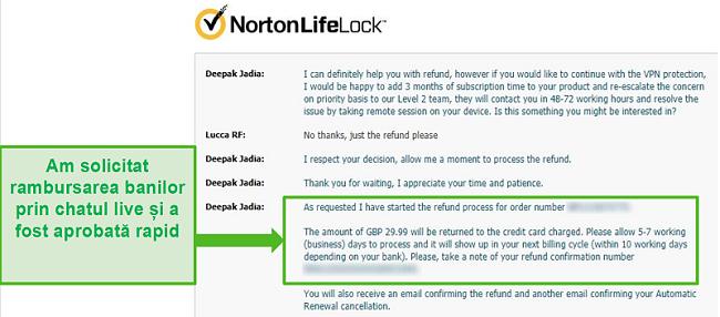 Captură de ecran a solicitării unei rambursări prin chatul live 24/7 al Norton Secure VPN